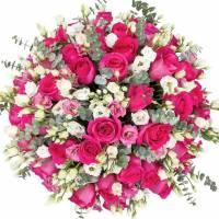 Букет 25 роз и эустома с упаковкой R023