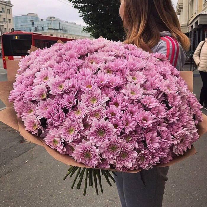 Букет 51 ветка розовой хризантемы R1120