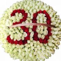Огромная корзина 301 крупная роза R013
