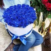 31 синяя роза в коробке R009