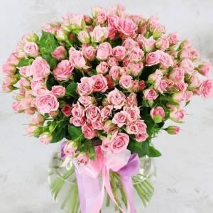 Букет 31 кустовая розовая роза с лентами R483