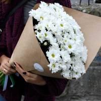 Букет 9 веток белой хризантемы R003