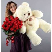 25 крупных красных роз и большой мишка R013
